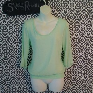 Charlotte Russe NWT green Blouse Black Bow Size XS